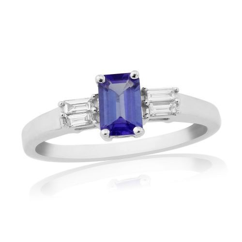 White gold tanzanite and baguette diamond ring